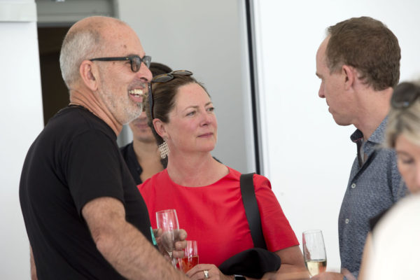 Malcolm Rands with Tess Shaw Chair of Waiheke Walking Festival and Mark Todd co-founder from Ockham Residential